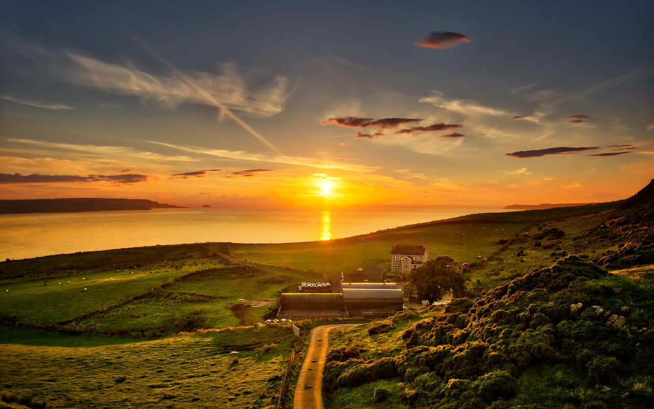 sunset ireland coast belfast