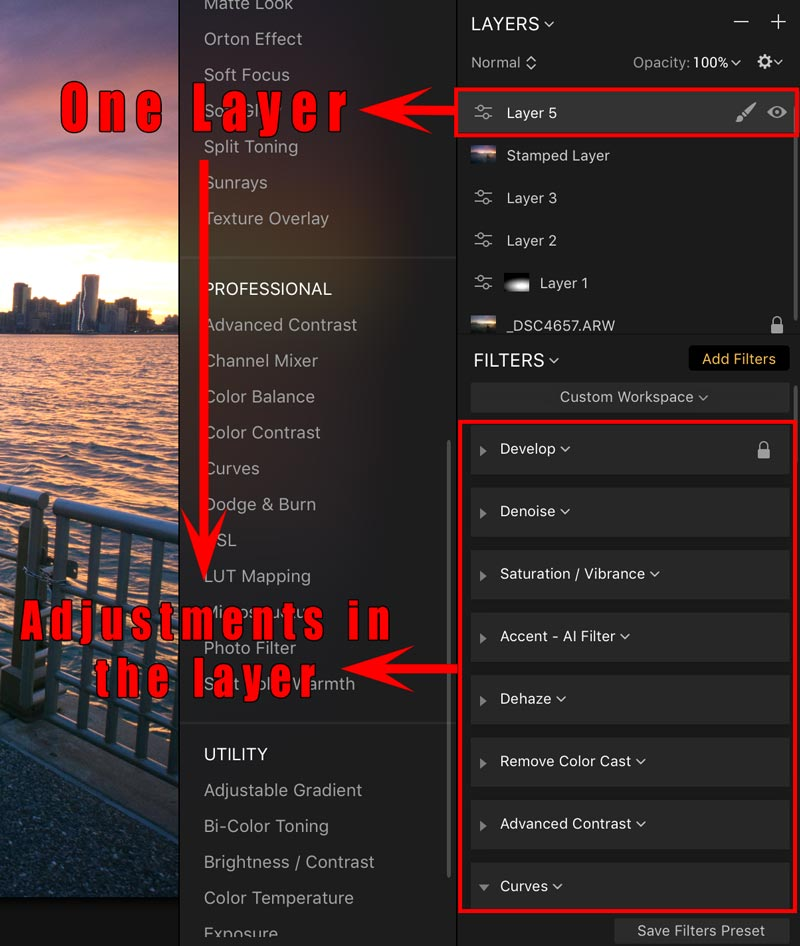 how do filters and layers work in Luminar 2018