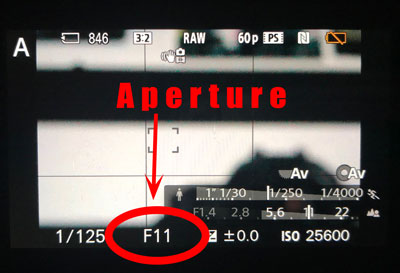 where to find aperture on your camera screen