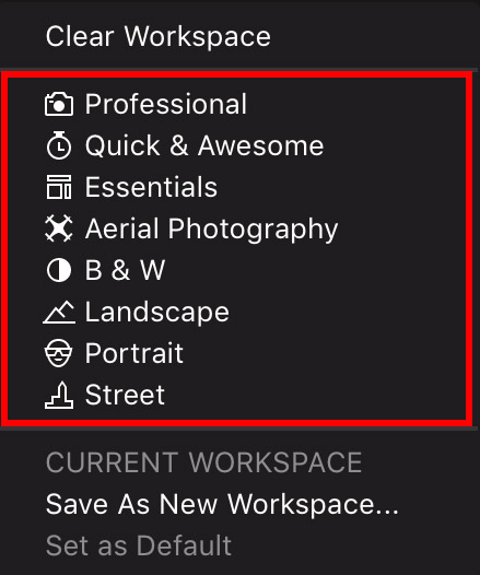 automatic workspace of luminar 2018