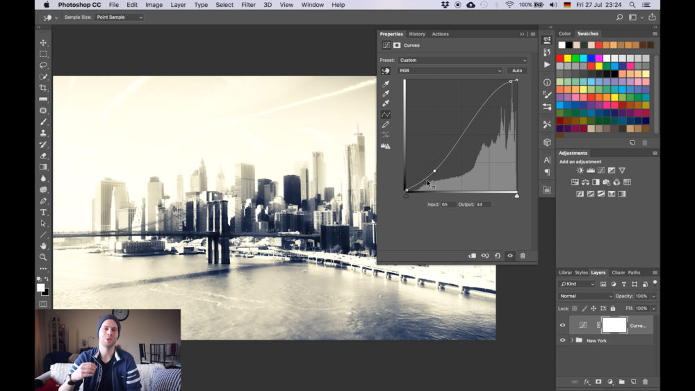 change contast in photoshop using curves snap