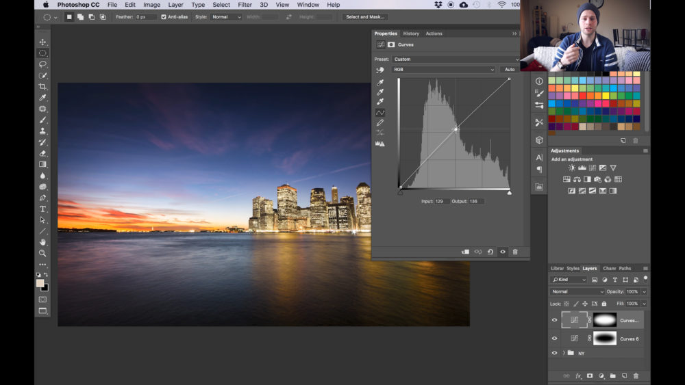 create a vignette using curves in Photoshop snap